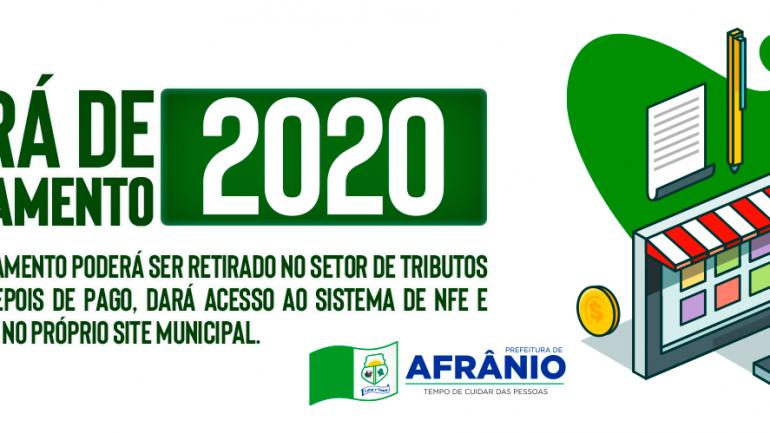 Afrânio lança campanha de Alvará 2020
