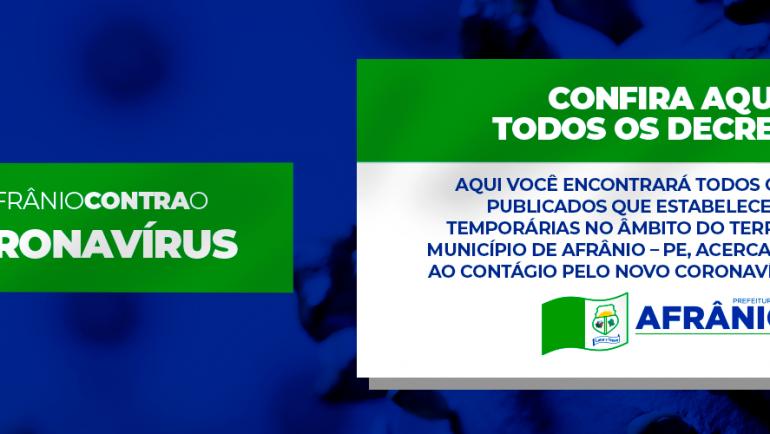 CONFIRA AQUI TODOS OS DECRETOS MUNICIPAIS ACERCA DO CORONAVÍRUS