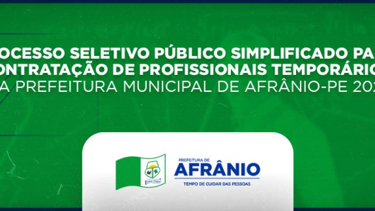 Processo Seletivo da Prefeitura Municipal de Afrânio – PE / 2021